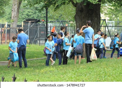 School children, A group of Jewish School children and staff at brower park in the crown heights section of Brooklyn on a sunny summer day August 14 2019