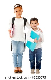 School children holding notebooks - isolated over a white background