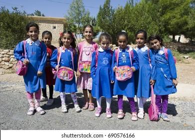 School Children at Oguz Village (Antique City of Dara), Mardin, Turkey, September 2015.