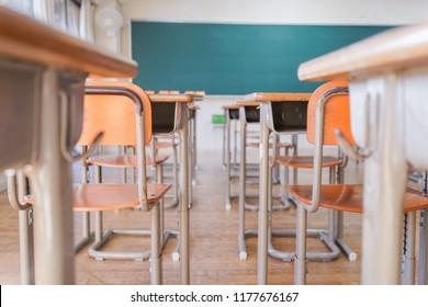 School classroom with desk