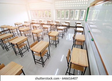 School classroom with desks chair wood, and blackboard in high school thailand, vintage tone education concept