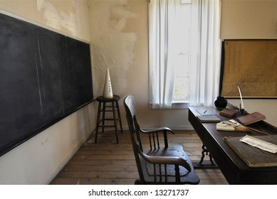 School classroom in the gold-rush mining town Columbia, California