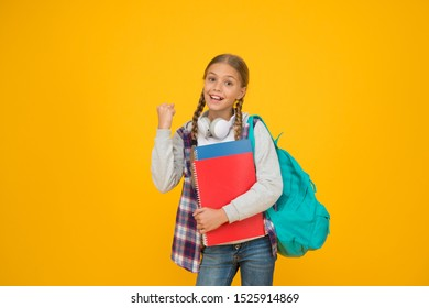 School club. Modern education. Private schooling. Teen with backpack and books. Motivated and diligent. Stylish schoolgirl. Girl little fashionable schoolgirl carry backpack. Schoolgirl daily life.