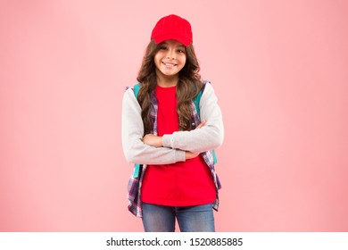School club. Stylish schoolgirl. Casual style comfortable for spending entire day in school. Girl little fashionable cutie carry backpack. Schoolgirl daily life. Schoolgirl street style clothes.