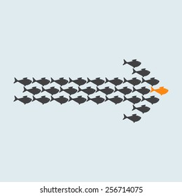 School of cute grey fish swimming in shape of arrow behind its gold fish leader isolated on light grey background. Concept of success and business achievements