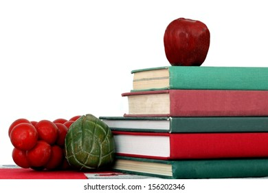 School Display in Red and Green Christmas Colors of Books and Fruits and Vegetables