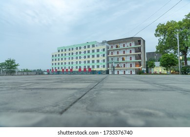 School dormitory building at night
