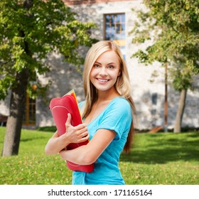 school and education concept - smiling student with folders