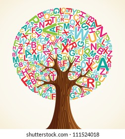 School education concept tree made with letters.