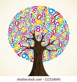 School education concept tree made with numbers.