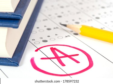 School and Education. Test paper with result