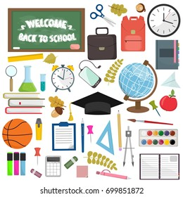 School and education workplace items.  flat illustration of school supplies. Isolated school, education workspace accessories on white background. Infographic elements for web, presentation.