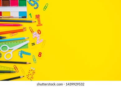 School equipment. Variety of school supplies. Flat lay.