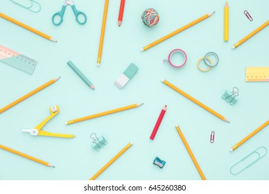 School equipment. Variety of school supplies. Flat lay.