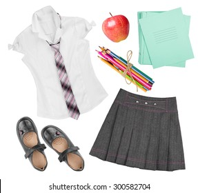 School female uniform clothing elements isolated on white background
