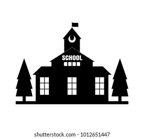 School with flag silhouette
