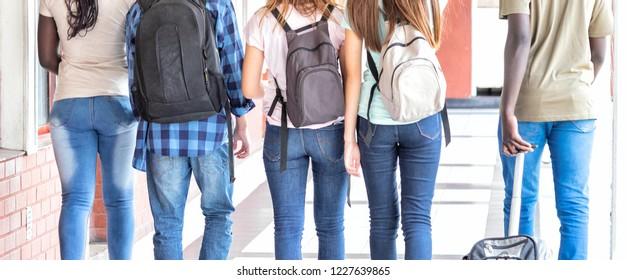 School friends walking in the hallway, back view.