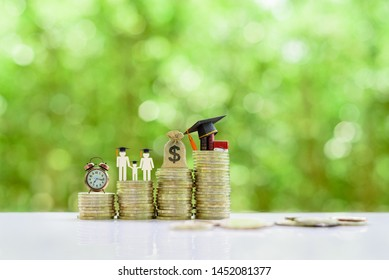 School funding, family saving for higher education concept : Black graduation cap, books, campus diploma, US dollar money bag, parents and single child, clock on rising coins, depict attemp for succes
