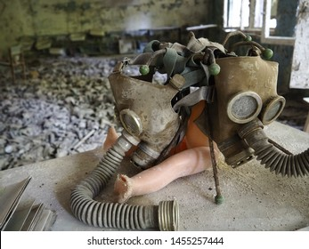 School with lot of gas masks in abandoned Chernobyl Exclusion Zone, Pripyat, Ukraine