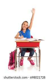 School: Girl In Class Raises Hand With Answer