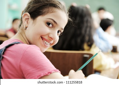 School girl at classroom