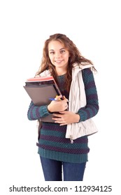 School girl holding books and smiling
