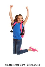 School: Girl Jumping High In The Air