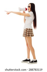 School girl in plaid skirt with megaphone isolated
