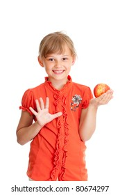 School girl portrait eating red apple isolated