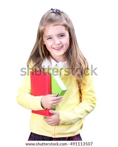 b8e0122c317e School girl smiling portrait isolated on white background. Happy cheerful  kid holding books education concept