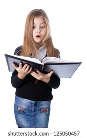 school girl standing with blank book in hands isolated