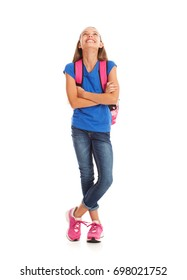 School: Girl Student With Arms Crossed Looking Up