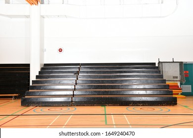 School Gymnasium Bleachers Pulled Out and Empty
