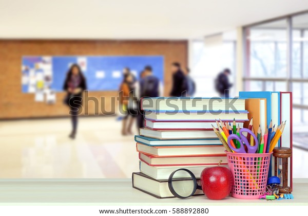 A school hall with book for Back to School event (very blurry background)