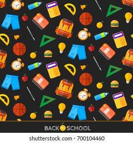 School icons set. Education object in flat style.