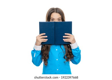School kid hide face with book isolated on white, library.