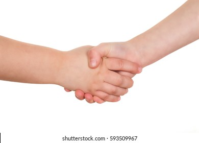 School kids shaking hands. Handshake isolated on a white background.
