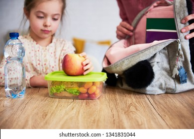 School lunch box with healthy food