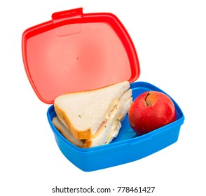 School lunch box on white background, isolated