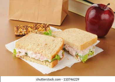 A school lunch with a deviled ham sandwich, apple, granola bar and textbooks
