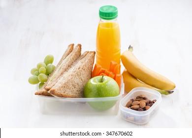 school lunch with sandwich, horizontal