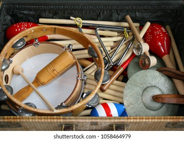 School music instruments in an old suitcase