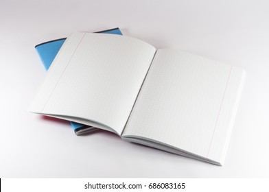 School notebook isolated on white background. Red and blue notebooks. Open Notepad