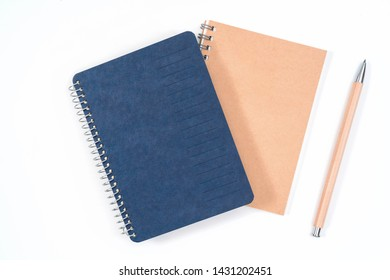 school notebook on a white background, notepad on a table