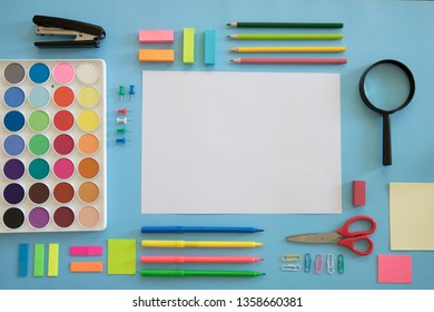 School notebook and various colored stationery. Back to school concept.
