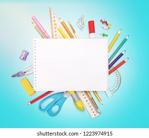 School notebook and various stationery. Back to