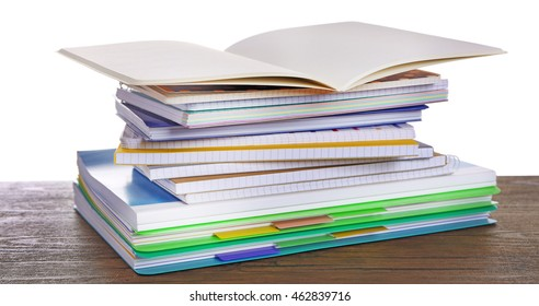 School notebooks, isolated on white