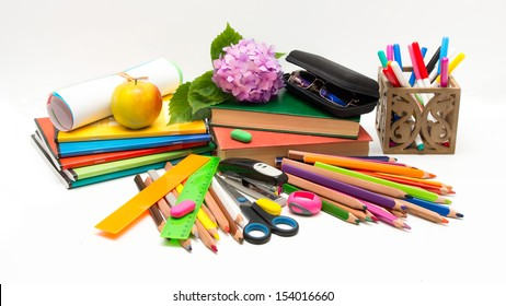 School objects and hydrangea flower Teacher Day (glasses, notebooks, books, crayons)