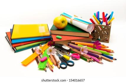School objects Teacher Day (notebooks, books, crayons)