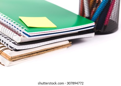School and office accessories on white background